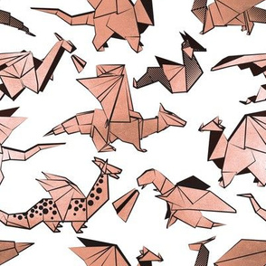 Small scale // Origami metallic dragon friends // white background metal rose fantasy animals