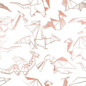 Small scale // Origami metallic dragon friends // white background metal rose lined fantasy animals