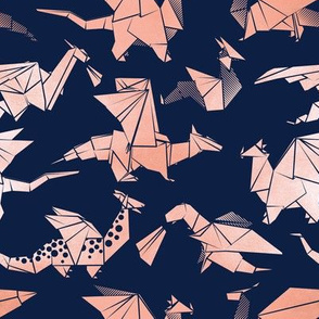 Small scale // Origami metallic dragon friends // navy blue background metal rose fantasy animals