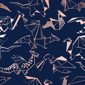 Small scale // Origami metallic dragon friends // navy blue background metal rose lined fantasy animals