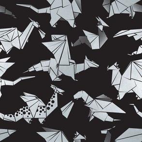 Small scale // Origami metallic dragon friends // black background metal silver fantasy animals