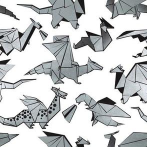 Small scale // Origami metallic dragon friends // white background metal silver fantasy animals