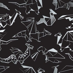 Small scale // Origami metallic dragon friends // black background metal silver lined fantasy animals