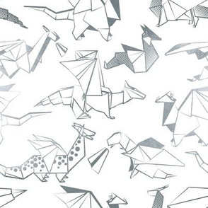 Small scale // Origami metallic dragon friends // white background metal silver lined fantasy animals