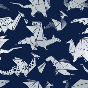 Small scale // Origami metallic dragon friends // navy blue background metal silver fantasy animals