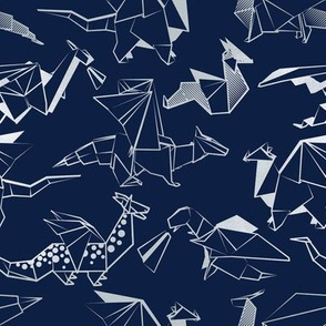 Small scale // Origami metallic dragon friends // navy blue background metal silver lined fantasy animals