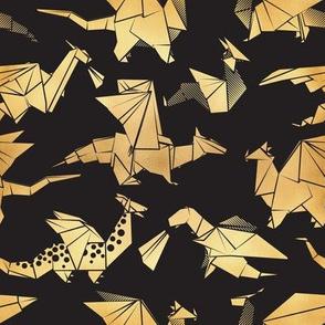 Small scale // Origami metallic dragon friends // black background golden fantasy animals