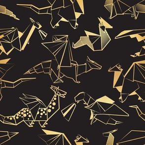 Small scale // Origami metallic dragon friends // black background golden lined fantasy animals