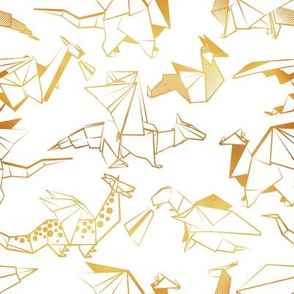Small scale // Origami metallic dragon friends // white background golden lined fantasy animals