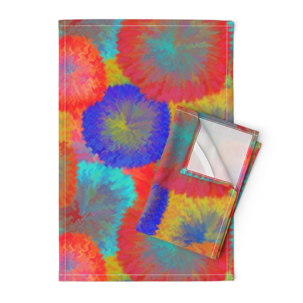 Orpington Tea Towels featuring LARGE TIE DYE 10 FUZZY FLOWERS FIREWORKS PSMGE by paysmage