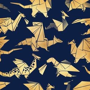 Small scale // Origami metallic dragon friends // navy blue background golden fantasy animals