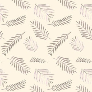 20-03u Fern Leaf Purple Plum Ivory Cream