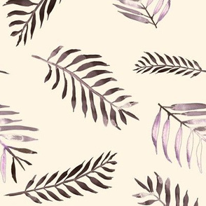20-03t Floral Fern Leaf Deep Purple Plum Lilac Autumn Fall