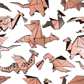 Normal scale // Origami metallic dragon friends // white background metal rose fantasy animals