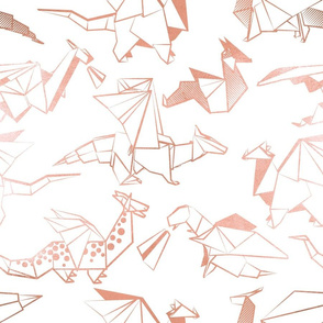Normal scale // Origami metallic dragon friends // white background metal rose lined fantasy animals