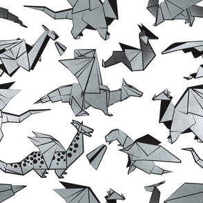 Normal scale // Origami metallic dragon friends // white background metal silver fantasy animals