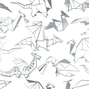 Normal scale // Origami metallic dragon friends // white background metal silver lined fantasy animals