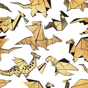Normal scale // Origami metallic dragon friends //  white background golden fantasy animals