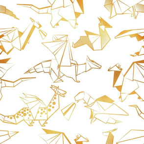 Normal scale // Origami metallic dragon friends // white background golden lined fantasy animals