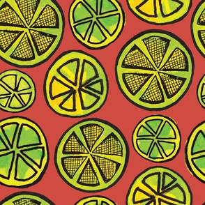 Lime Wheels (large scale) - coral ground