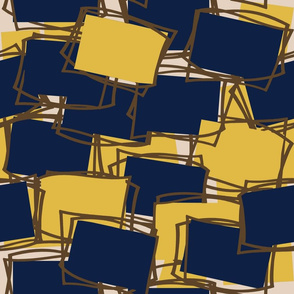 Mid-Mod Elements in Navy & Gold-l on Beige