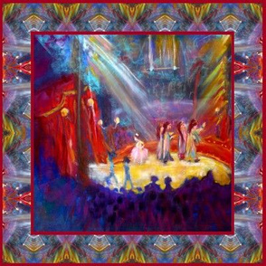 """8"""" x 8"""" VENETIAN CIRCUS CHALK PASTELS PAINTING SQUARE PANEL FRAMED PSMGE"""