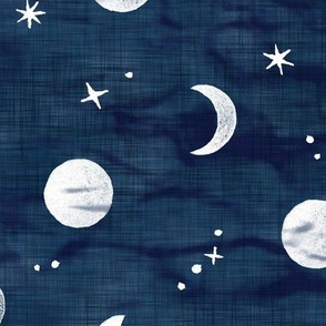 Shibori Moons and Stars on Dark Indigo (xl scale) | Night sky fabric, block printed moon on linen pattern, crescent moon, arashi shibori linen.