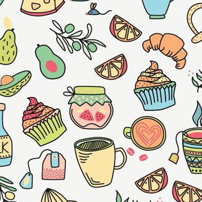 Pastel French Café, Baking, Soft Colors Coffee and Tea, Muffin Cupcake