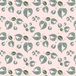 20-03r Tiny Boho Blush Pink Sage Green Leaf Leaves