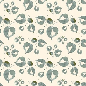 20-03p Tiny Sage Green Floral Leaf Leaves Ivory Cream