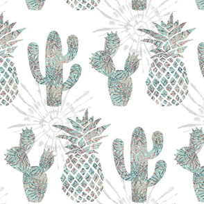 tie-dye cactus and ananas
