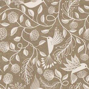 papercutting floral and hummingbirds