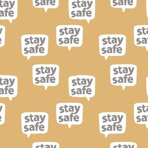 Inspirational text designs Stay safe and stay home corona virus design cool ochre yellow leopard spots SMALL