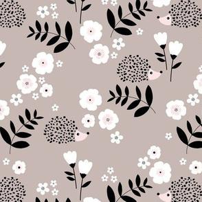 Hedgehog garden leaves and flowers neutral baby nursery kids design taupe beige