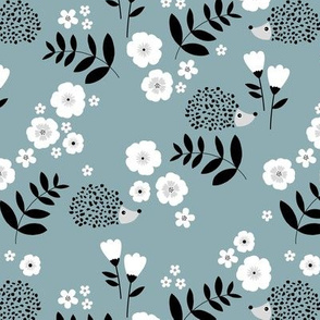 Hedgehog garden leaves and flowers neutral baby nursery kids design stone blue gray