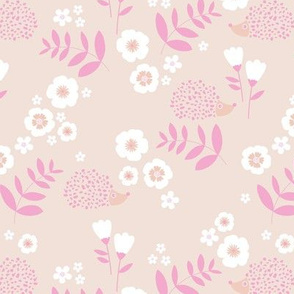 Hedgehog garden leaves and flowers neutral baby nursery kids design pale blush apricot peach and pink girls