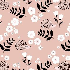 Hedgehog garden leaves and flowers neutral baby nursery kids design soft beige pink