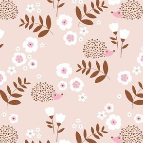 Hedgehog garden leaves and flowers neutral baby nursery kids design soft beige rust pink