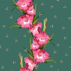 Pink Gladiolus Stripe on Emerald