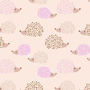 Scandinavian hedgehogs sweet pastel boho hedgehog garden nursery kids design spring summer peach pale pink