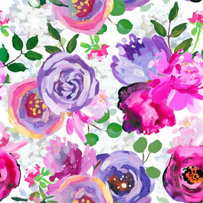 """18"""" Hand drawn acrylic purple  thic monet spring flowers  on white"""