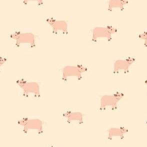 Pigs on light yellow