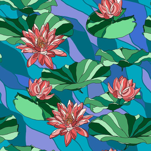 Water lilies on blue waves