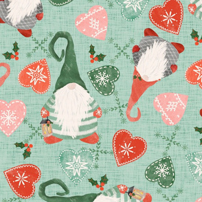 Christmas Gnomes and Hearts - light green