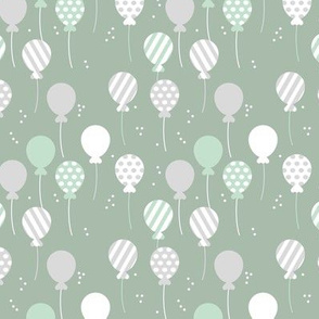 Party balloon fun birthday wedding theme in modern boho pastel colors mint sage green