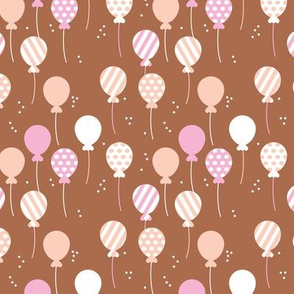 Party balloon fun birthday wedding theme in modern boho rust pink peach girls