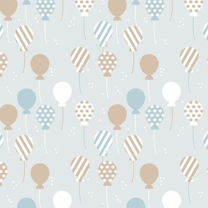 Party balloon fun birthday wedding theme in modern boho pastel blue gray latte boys