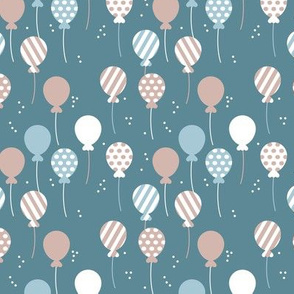 Party balloon fun birthday wedding theme in modern boho pastel night blue gray latte boys