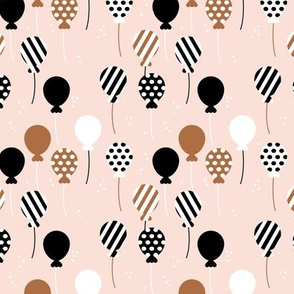 Party balloon fun birthday wedding theme in modern boho pastel beige rust black and white neutral