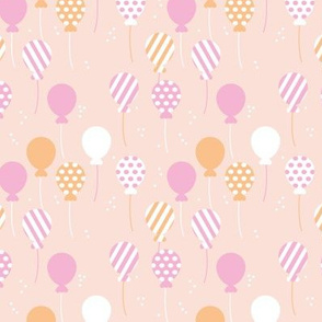 Party balloon fun birthday wedding theme in modern boho pastel beige pink honey yellow girls